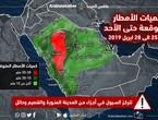 السعودية | تقلبات جوية حادة تطال أجزاء مختلفة من المملكة الجمعة والسبت .. أمطار غزيرة وبرديات متوقعة